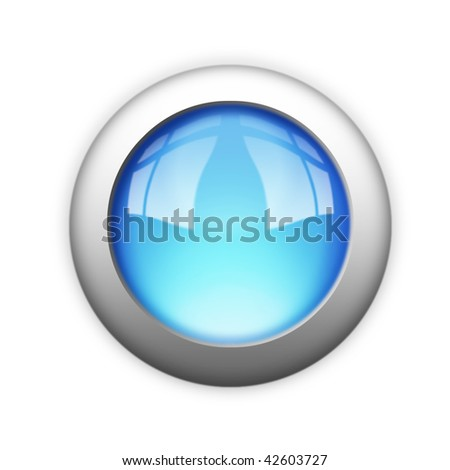 blank blue button - stock photo