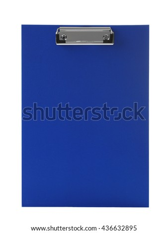 Blank blue clipboard  on white background - stock photo