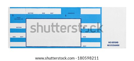 Blank Blue Concert Performance Ticket Isolated on White Background. - stock photo