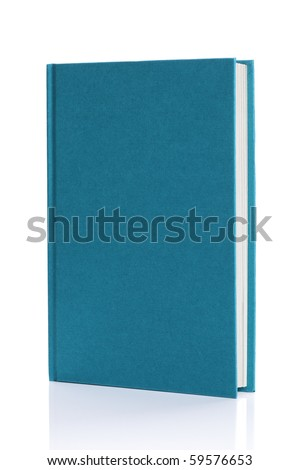 Blank blue hardback book cover ready for text or graphic isolated on white - stock photo