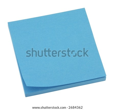 Blank blue memo pad isolated on white.
