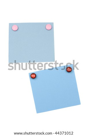 blank blue note with magnet - stock photo