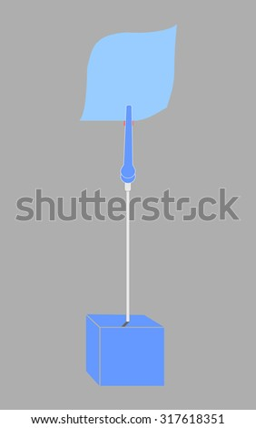 blank blue paper clamp by blue cube alligator wire  - stock photo