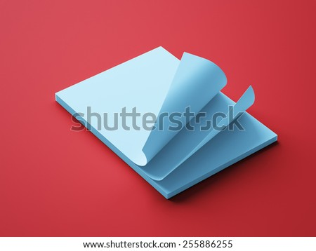 Blank Blue Paper Notepad isolated on red background