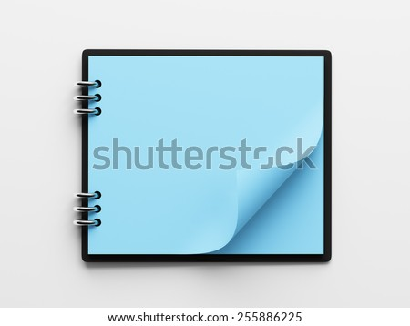 Blank Blue Paper Notepad isolated on white background