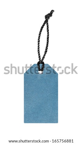 Blank blue price label tag - stock photo