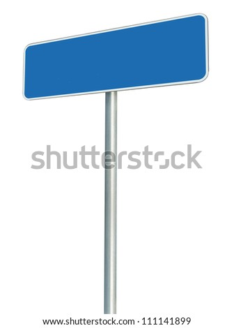 Blank Blue Road Sign Isolated, Large White Frame Framed Roadside Signboard Perspective Copy Space, Empty Signage - stock photo