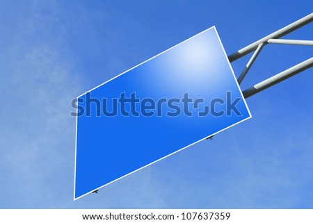 blank Blue Road traffic sign with empty copy space (Path in the image) in the blue sky - stock photo