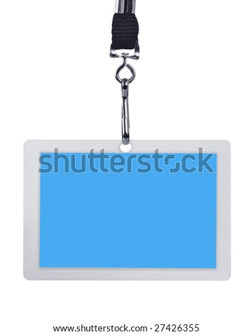 Blank blue security identification pass on a lanyard, isolated on white.