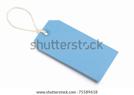 Blank Blue Tag, Isolated on white. - stock photo