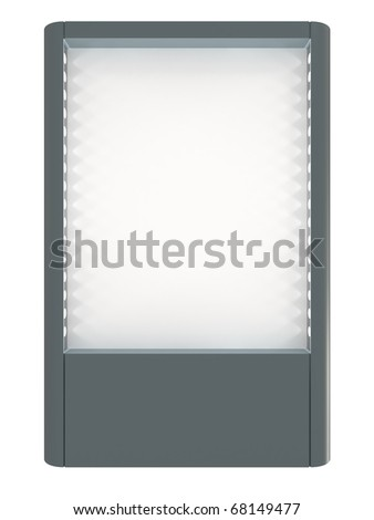 Blank board for advertisement, lamps highlights, isolated on white with clipping path