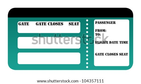 Blank boarding pass isolated on white background.