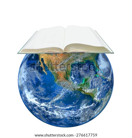 blank book and the earth ,including elements furnished by NASA - stock photo