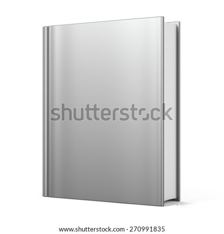 Blank book cover empty template single brochure document textbook cookbook workbook notebook knowledge media content information. 3d render isolated on white background - stock photo
