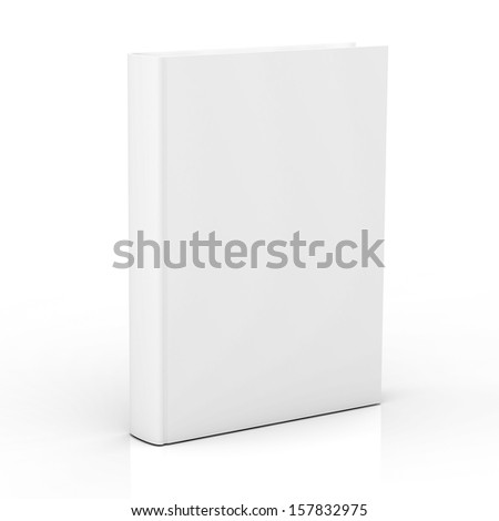 Blank book cover isolated on white background with reflection