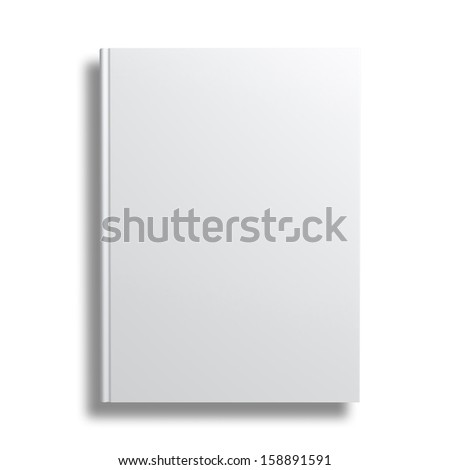 Blank book cover isolated over white background with shadow - stock photo