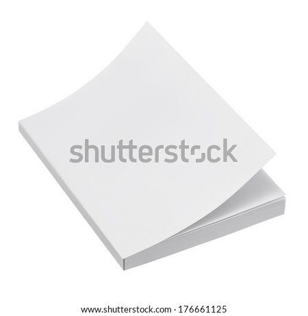 Blank book cover on white background - stock photo