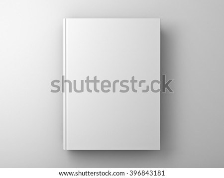 Blank book cover over white wall background with shadow