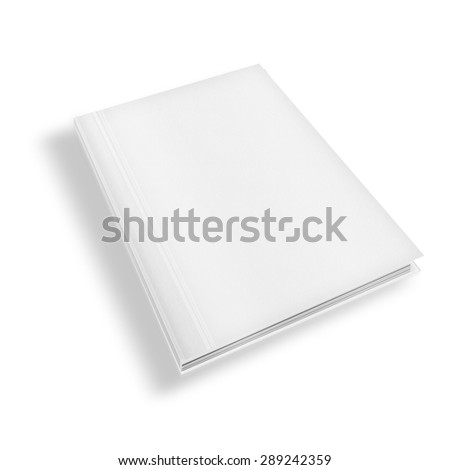 Blank book cover template isolated on white background with shadows. Highly detailed illustration..