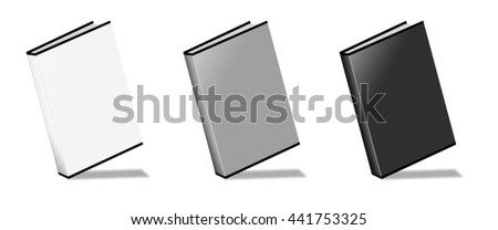 Blank Book 3D rendering on white background