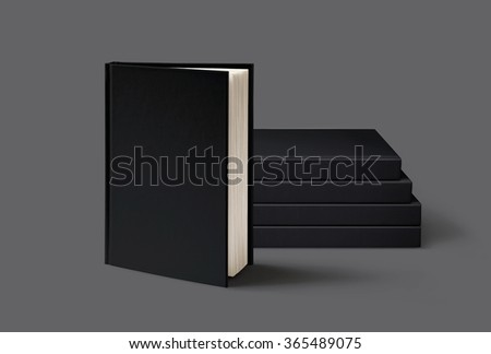 Blank book mockup isolated on grey background.