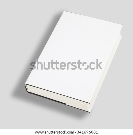 Blank book white cover with clipping path - stock photo