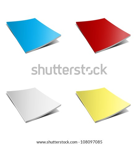 Blank book with blue, red, white, yellow cover on white background - stock photo