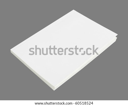 Blank book with white cover on gray background. - stock photo