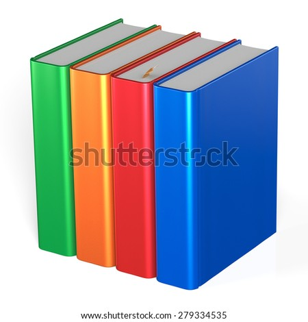 Blank books four textbooks bookshelf educational bookcase row standing 4 colorful green orange red blue template. School studying knowledge content icon concept. 3d render isolated on white background - stock photo