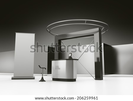 blank booth or stall in trade show - stock photo