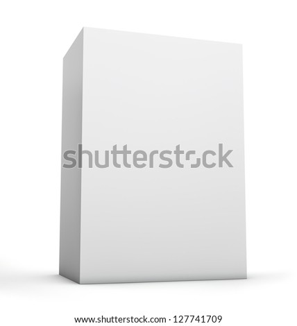 Blank box. Clipping path included for easy selection. - stock photo