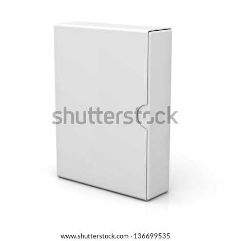 Blank Box isolated on white background with reflection - stock photo