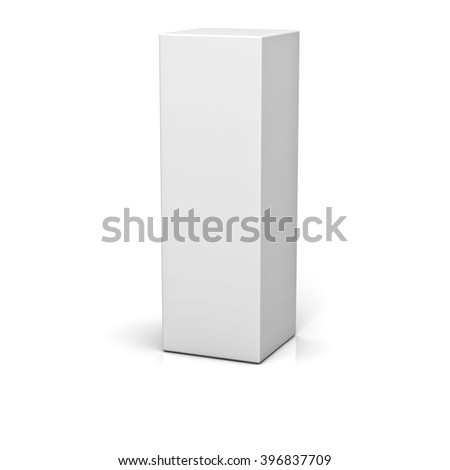 Blank box isolated over white background with reflection
