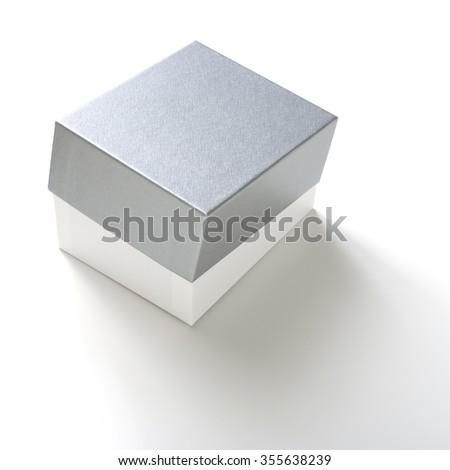 blank box on white background. - stock photo