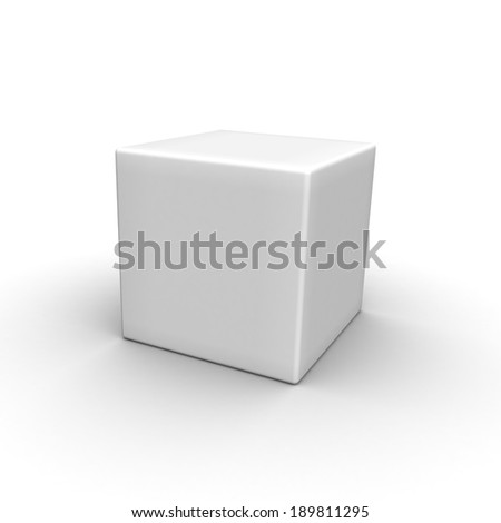 Blank box on white background with reflection - stock photo