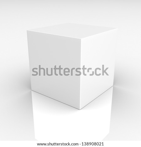 Blank box on white background. with reflection on the floor.With space for your text and picture. 3d render blank - stock photo