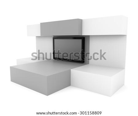 blank box wall or display with big tv screen - stock photo