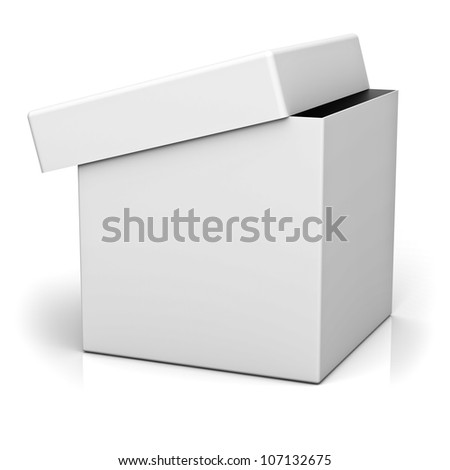 Blank box with cover on white background with reflection - stock photo