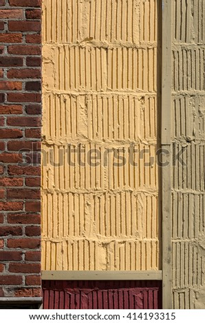 Blank Brick and Lined Cement Wall for your copy - stock photo