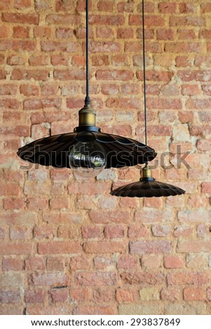 Blank brick wall with lamps  - stock photo