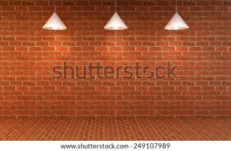 Blank brick wall with place for text illuminated by lamps above,3d render - stock photo