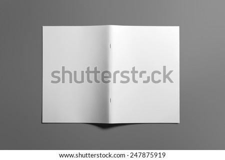 Blank Brochure magazine isolated on grey to replace your design - stock photo