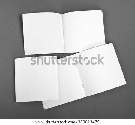 Blank brochure on gray background