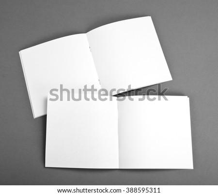 Blank Brochure On Grey Background Photo 400725208 Shutterstock – Blank Brochure