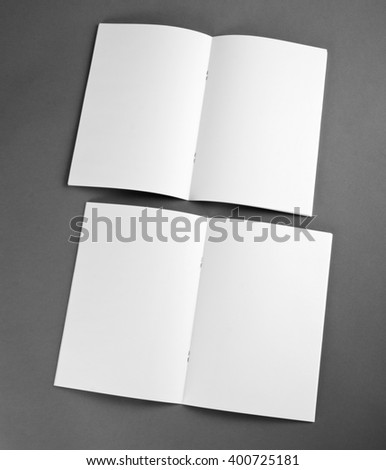 Bifold white template paper on gray stock photo 472137970 for Cardboard brochure holder template