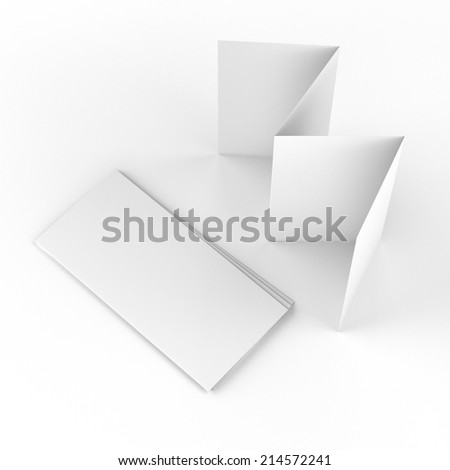 blank brochures with four wings from top view isolated on white. render