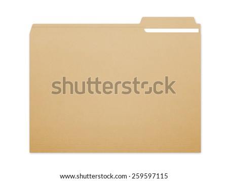 Blank brown card folder file with paper showing with a lot of copy space. Isolated on a white background with clipping path. - stock photo