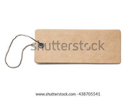 Blank brown cardboard price tag or label with thread isolated