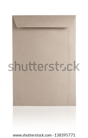 Blank Brown Envelope Isolated On White Background - stock photo