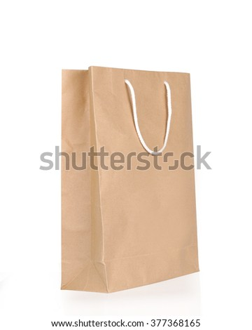 Blank brown paper bag isolated on white background with clipping path - stock photo